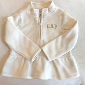 Baby gap ivory fleece zip up top